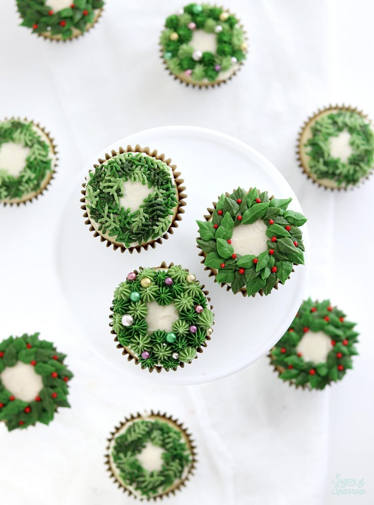 christmas wreath cupcakes by sugar and sparrow