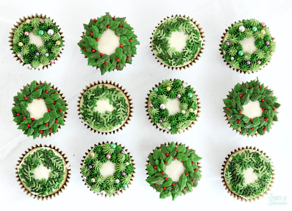 holiday wreath cupcakes by sugar and sparrow