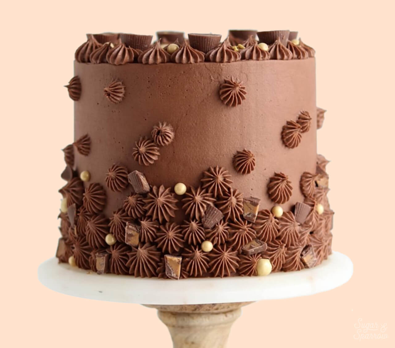 chocolate peanut butter cake recipe by sugar and sparrow
