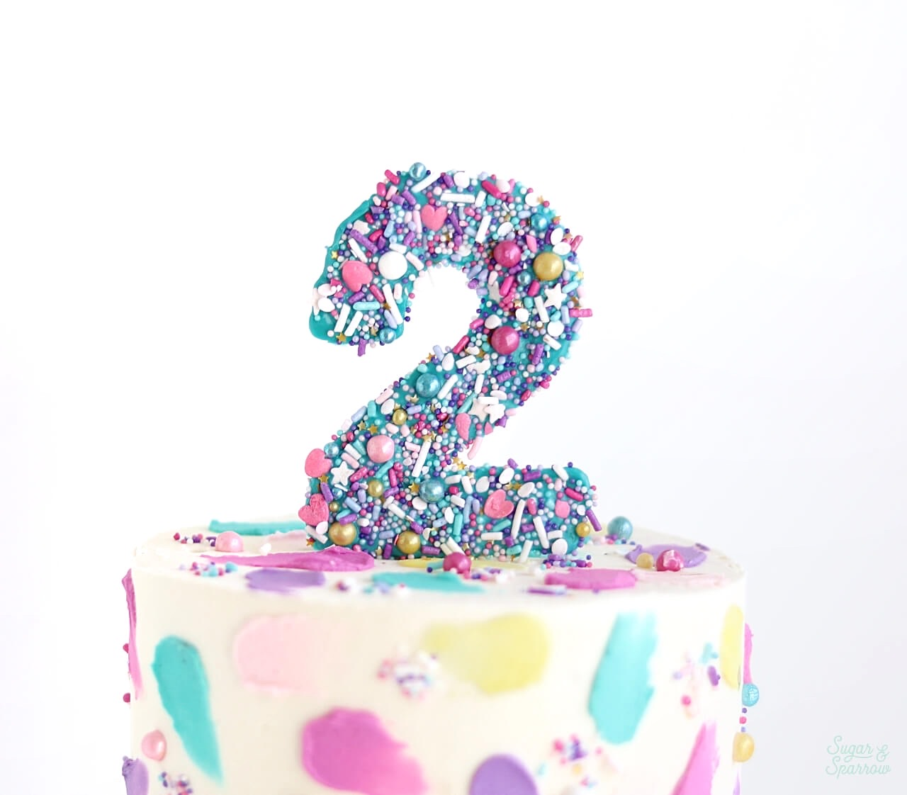 DIY number cake toppers with sprinkles