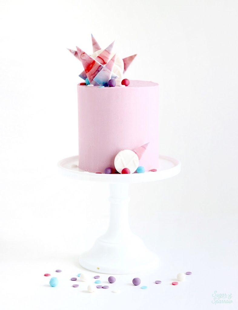 buttercream cake with watercolor fondant