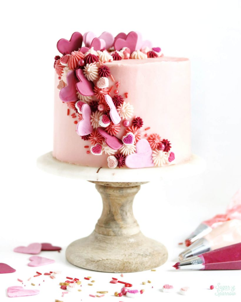 cascading heart cake for valentines day by sugar and sparrow