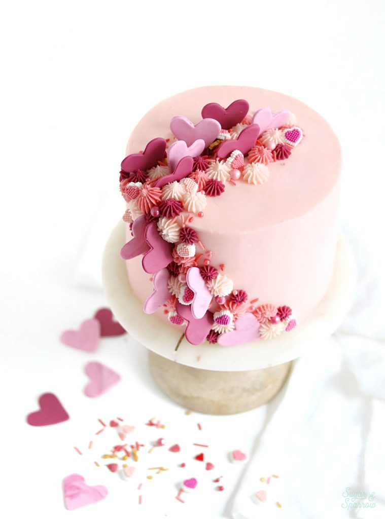 Pink and red heart cake for valentines day