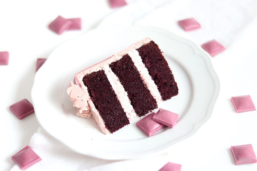 chocolate cake with ruby chocolate buttercream