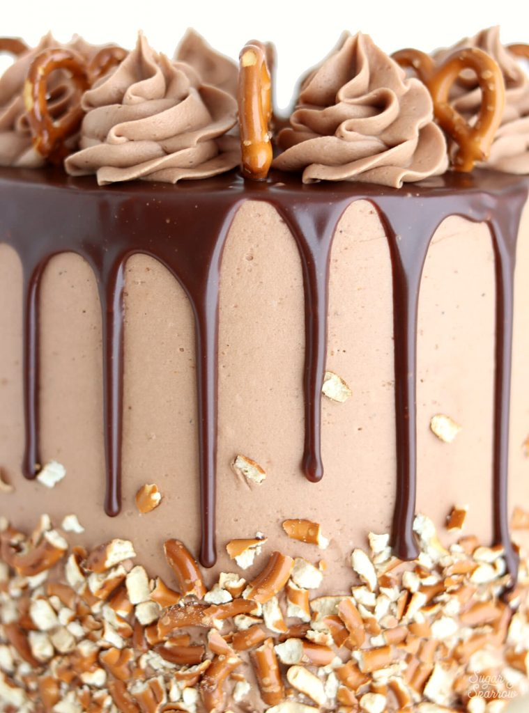 pretzel nutella cake with nutella ganache drip