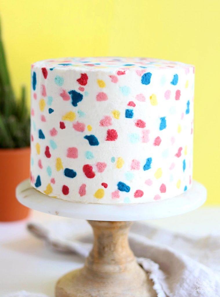 colorful terrazzo cake tutorial