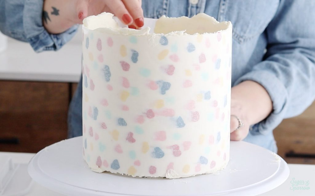 printed buttercream wrap cake decorating tutorial