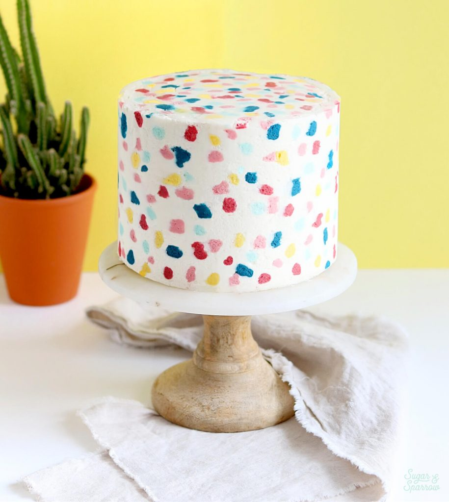 buttercream terrazzo cake tutorial by Sugar and Sparrow