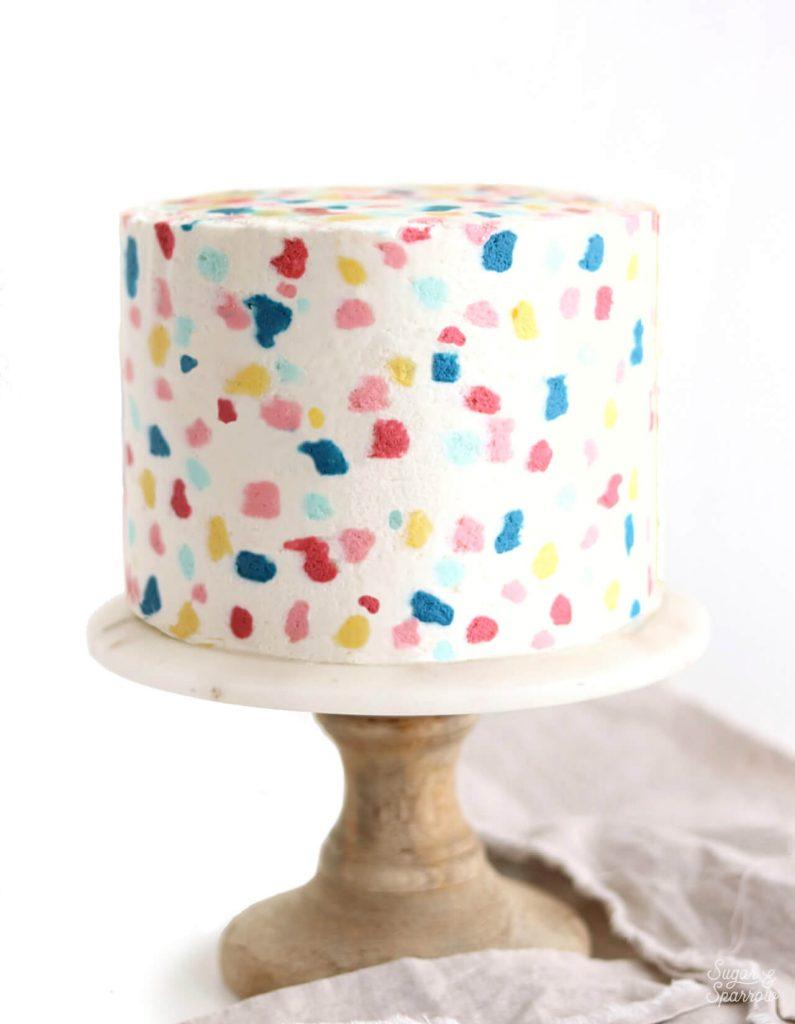 terrazzo cake tutorial with buttercream
