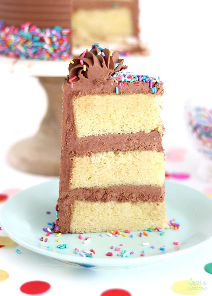 yellow cake recipe with chocolate frosting by sugar and sparrow