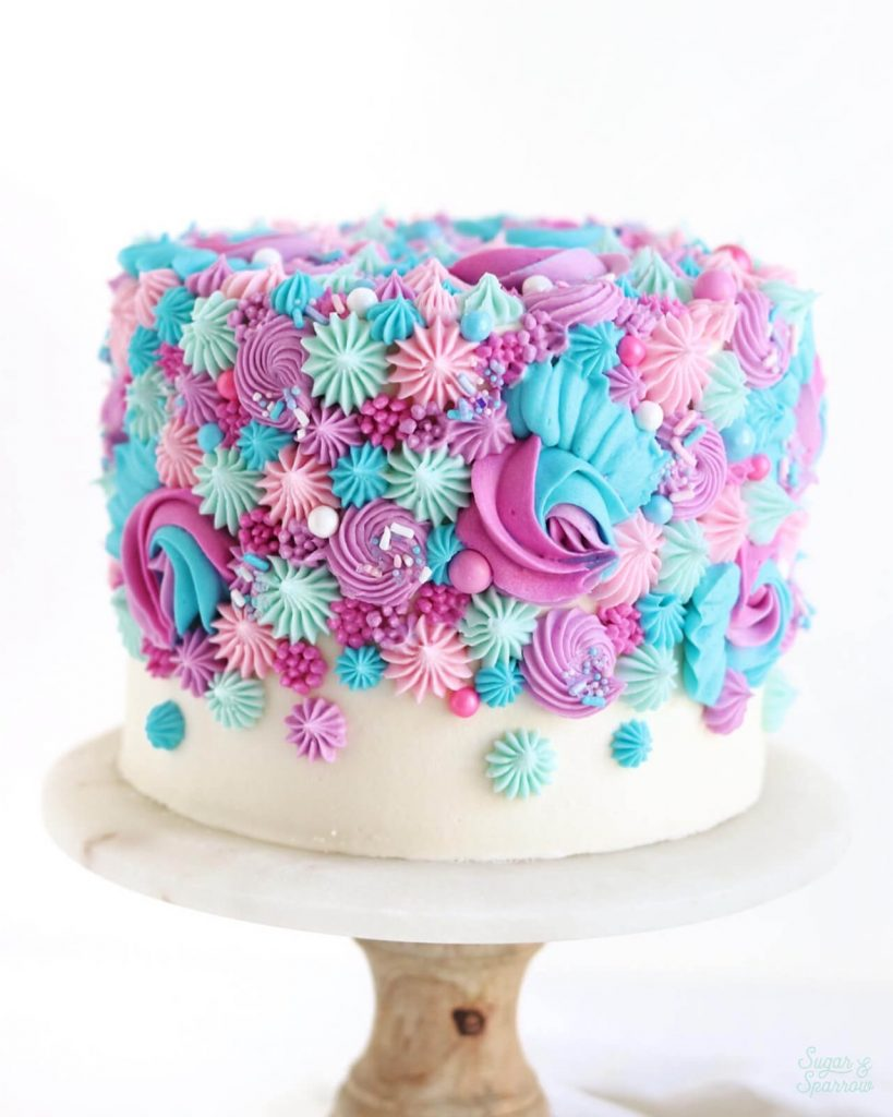 buttercream gender reveal cake