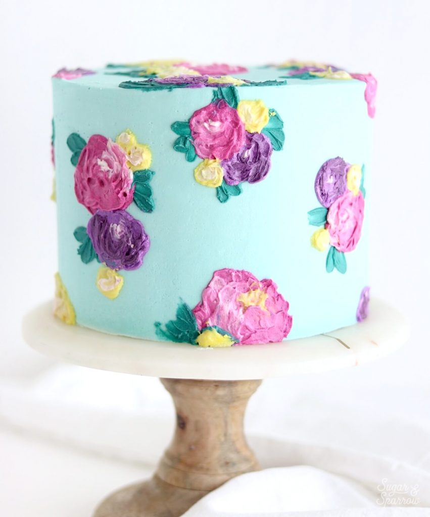 spatula painted floral cake by sugar and sparrow