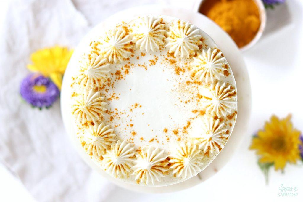 turmeric latte cake recipe by sugar and sparrow