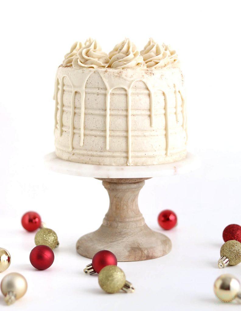 eggnog layer cake recipe by sugar and sparrow