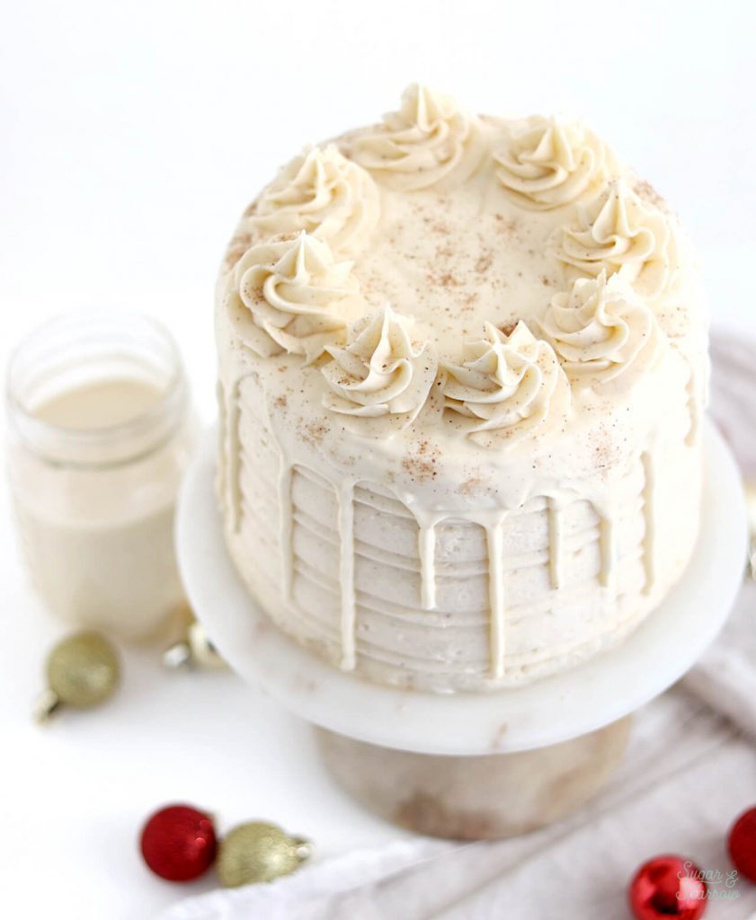 eggnog layer cake with eggnog ganache drip