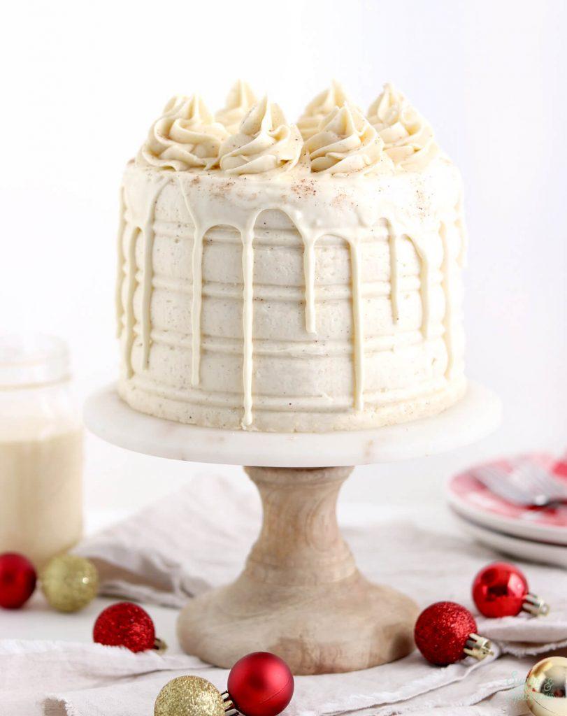 holiday cake recipes: eggnog layer cake