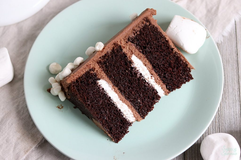 hot cocoa cake recipe with marshallow fluff