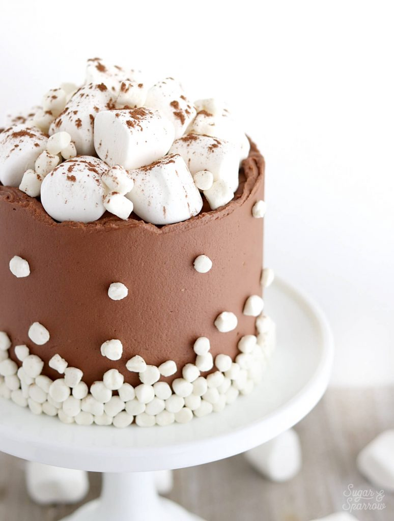 hot cocoa cake with marshmallows