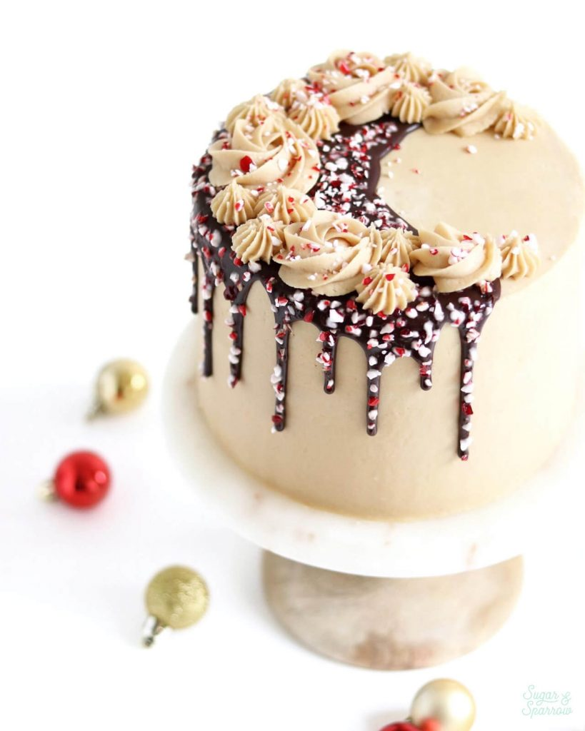 peppermint mocha cake by sugar and sparrow