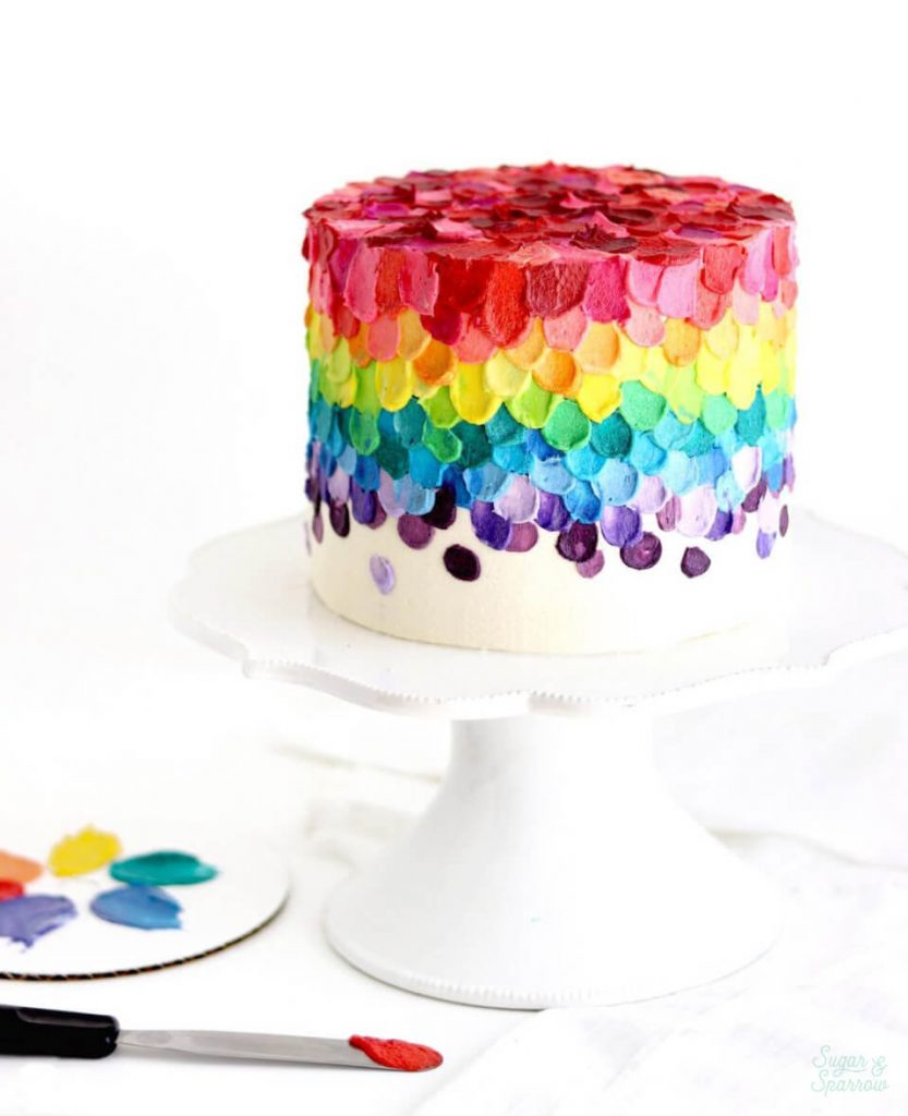 rainbow cake buttercream by sugar and sparrow