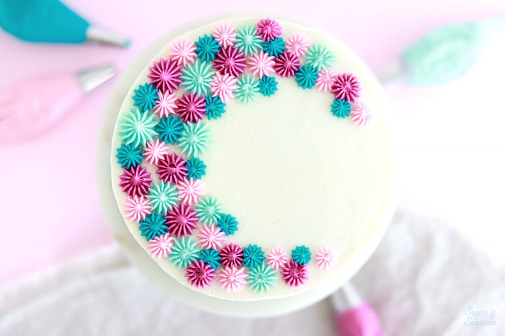buttercream piping with wilton tip 4b