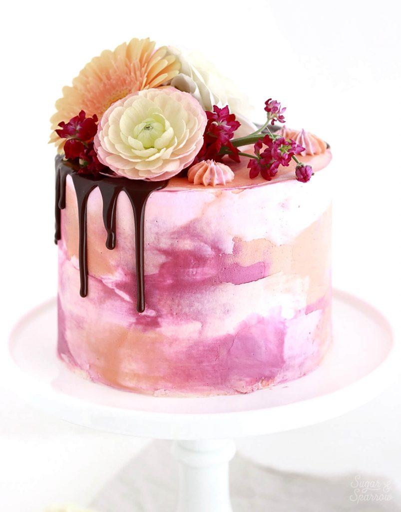 watercolor buttercream cake tutorial