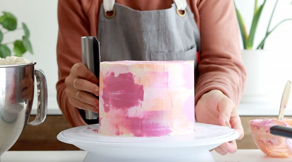 pink watercolor cake tutorial