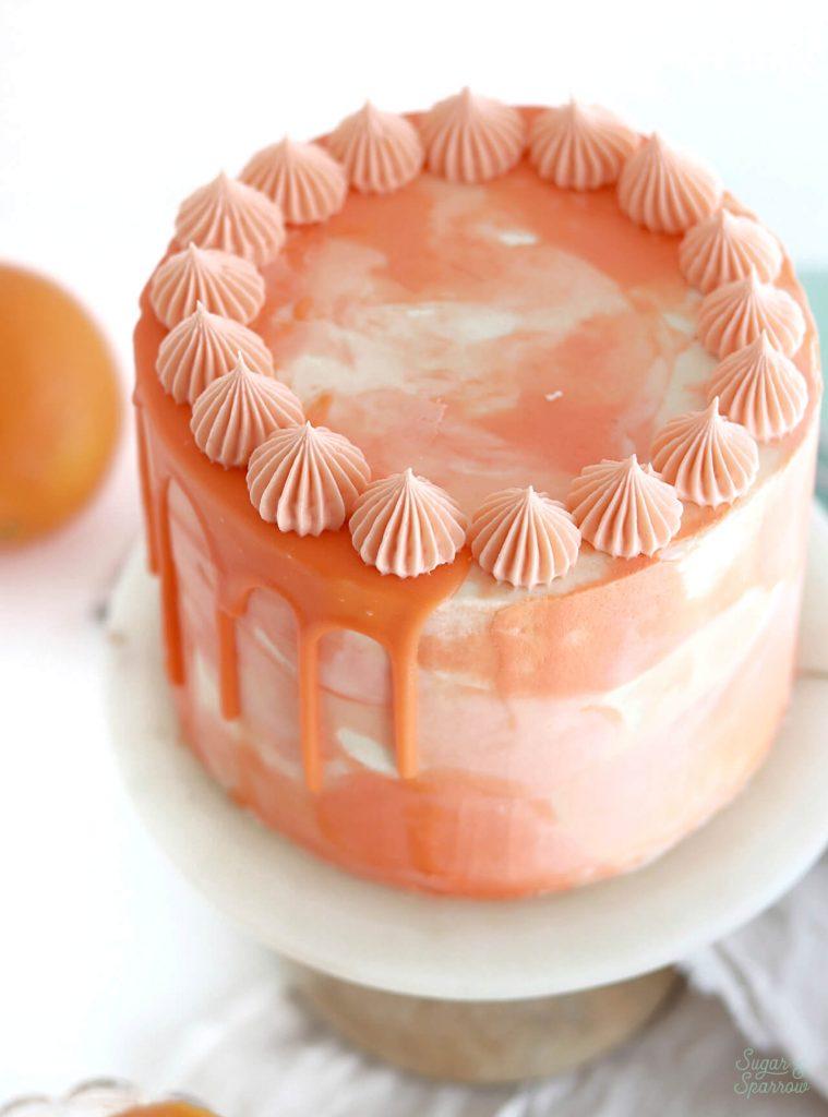 orange watercolor cake