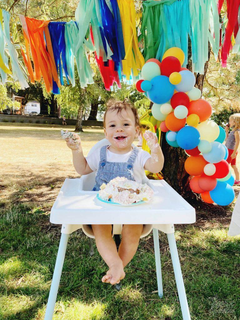 smash cake first birthday party