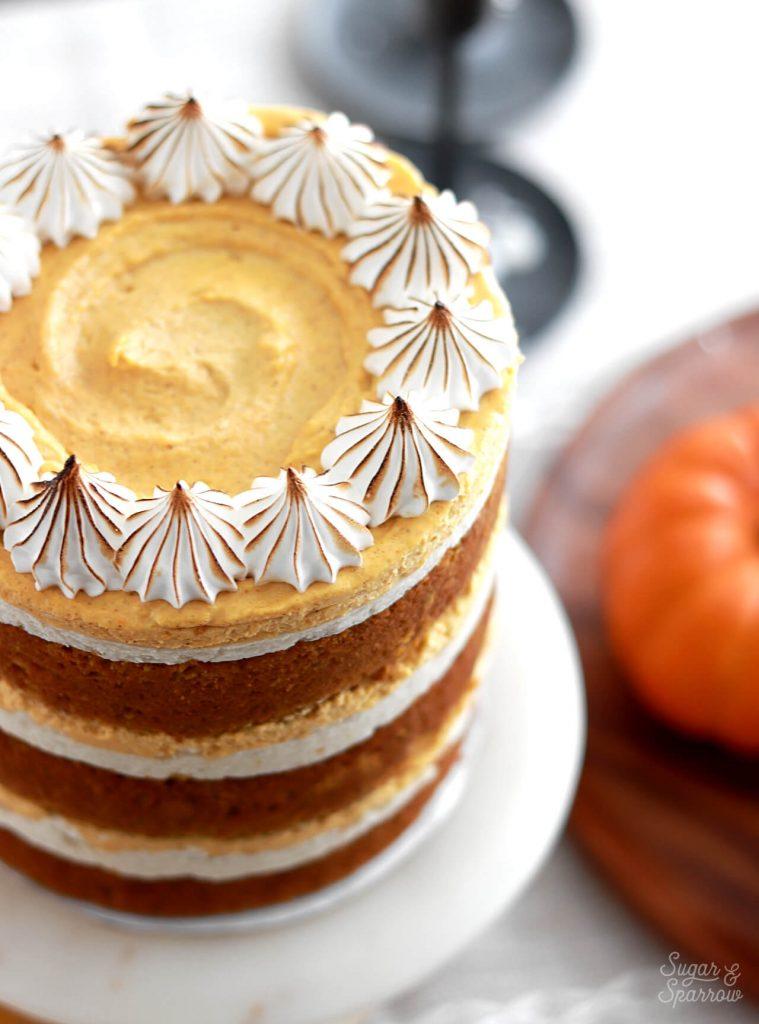 pumpkin pie cake with toasted meringue