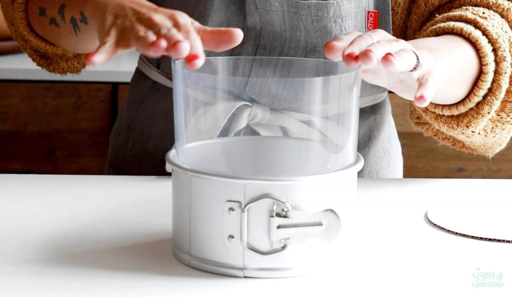 how to line a cake pan with acetate