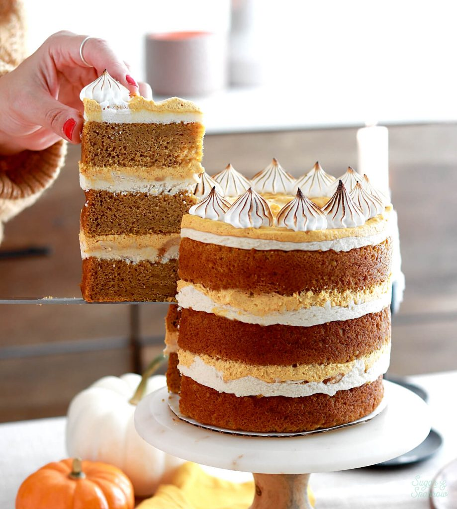 pumpkin layer cake recipe with brown sugar buttercream and pumpkin creme filling